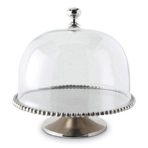 Culinary Concepts - Dish cover-Culinary Concepts-Large Beaded Edge Cake Stand With Domed Lid