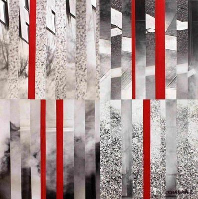 JOHANNA L COLLAGES - Decorative painting-JOHANNA L COLLAGES-City 5 : red touch 70x70 cm