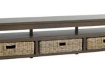 BARCLER - meuble tv en manguier teinté et poelet gris 180x45 - Hifi Möbel