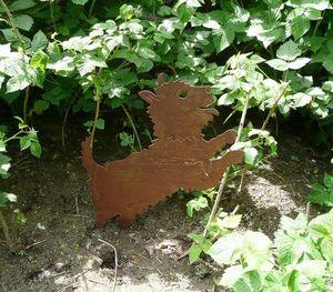 OKE DECORATION - chien sautant décoratif en métal - Gartenschmuck