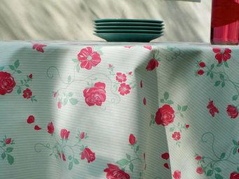 FLEUR DE SOLEIL - nappe enduite roses vert rouge 160x160 - Rechteckige Tischdecke