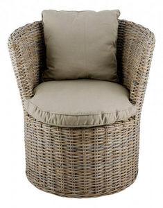 INWOOD - fauteuil haut rond kubu en rotin de bananier 70x62 - Gartensessel