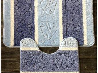 ILIAS - tapis salle de bain et toilette bicolore bleu - Badematte