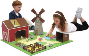 KROOOM-EXKLUSIVES FUR KIDS - ferme avec figurines et accessoires en carton recy - Kinderspielhaus