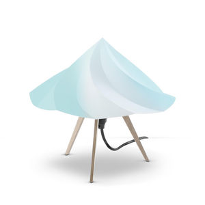 Moustache - chantilly - lampe à poser bois & bleu h28cm | lamp - Tischlampen