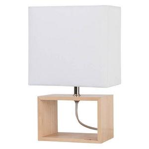 Corep - liv - lampe à poser bois/blanc | lampe à poser cor - Tischlampen