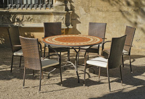 HEVEA - table ronde mosaïque et fauteuils lorny bergamo - Gartengarnitur