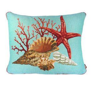 Art De Lys - corail et étoile de mer, fond bleu - Rechteckige Kissen