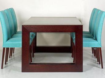 Gerard Lewis Designs - dining table and upholstered chairs in wenge - Quadratischer Esstisch
