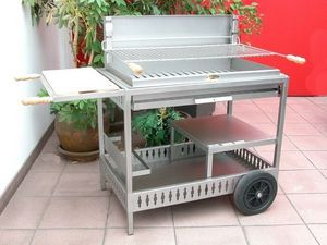 Le Marquier - barbecue iholdy inox sur chariot - Holzkohlegrill