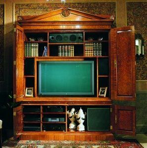 Arthur Brett & Sons - thomas hope-style burr maple & satinwood tv cabine - Hifi Möbel