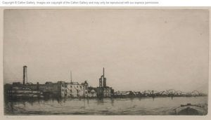 CALTON GALLERY - nine elms, from the thames (london) - Radierung