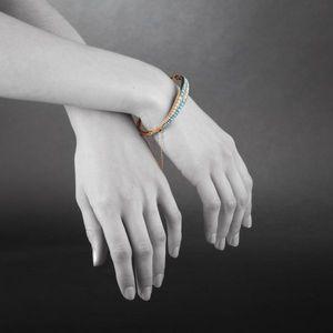 Expertissim - bracelet jonc rigide ouvrant en or, turquoises et  - Armband
