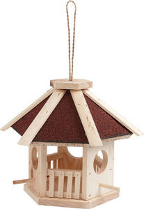 Aubry-Gaspard - mangeoire en pin naturel hexagonale avec toit en s - Vogelfutterkrippe