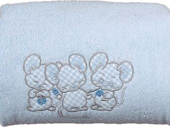 SIRETEX - SENSEI - carré de bain 100x100cm éponge brodée 3 souris ble - Kinder Handtuch