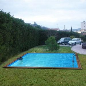 Christaline - piscine evolux bois semi enterre ou enterre 504x50 - Pool Mit Holzumrandung