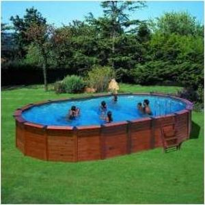 GRE - piscine octogonale bois hawaii - 745 x 420 x 132 c - Pool Mit Holzumrandung