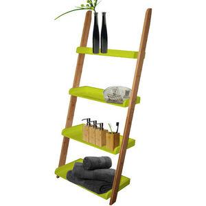 WHITE LABEL - etagère échelle 4 niveaux en bambou et bois laqué  - Badezimmerregal