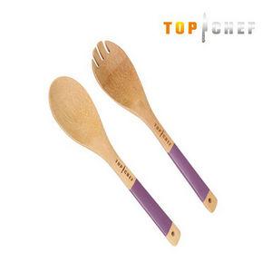 WHITE LABEL - cuillère dentelée et cuillère simple en bambou top - Vorlegebesteck