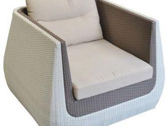 PROLOISIRS - fauteuil ice cream en résine tressée vanille choco - Terrassensessel