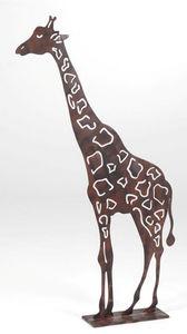 Amadeus - girafe à poser en métal rouillé 70x12x111cm - Kleine Statue