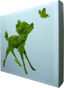 FLOWERBOX - tableau végétal picto faon en lichen stabilisé 20c - Vegetarische Gemälde