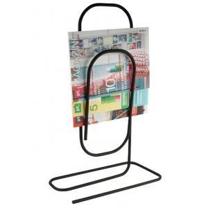 Present Time - porte-revues paperclip métal - couleur - noir - Zeitungsständer