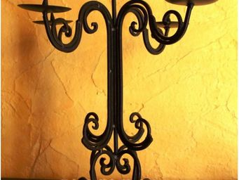 L'HERITIER DU TEMPS - chandelier à poser en fer forgé - Kerzenleuchter Kirche