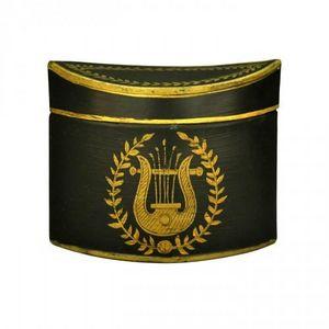 Demeure et Jardin - boite à thé tôle peinte noire lyre - Teedose
