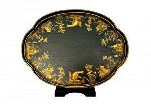 Demeure et Jardin - plateau ovale noir frise 2 ors - Tablett