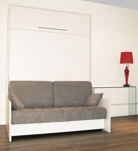 WHITE LABEL - armoire lit escamotable space sofa, canapé intégré - Hochklappbares Bett