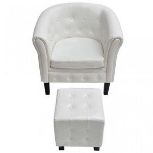 WHITE LABEL - fauteuil avec pouf simili-cuir blanc - Sessel Und Sitzkissen