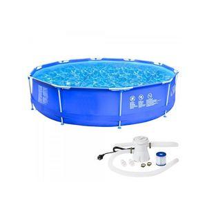 WHITE LABEL - piscine avec bâti et pompe 6125 litres - Pool Mit Stahlohrkasten