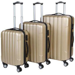 WHITE LABEL - lot de 3 valises bagage rigide or - Rollenkoffer