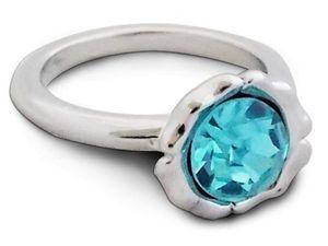 WHITE LABEL - bague argentée rayonnante avec pierre turquoise bi - Ring