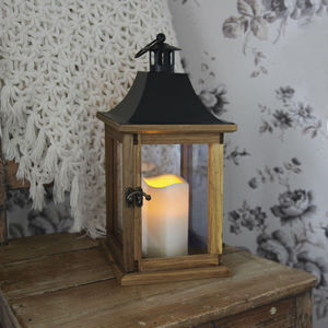 Best Season - lantern - lanterne extérieur bois bougie led h35cm - Led Gartenleuchte