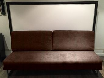 WHITE LABEL - armoire lit transversale magic canapé intégré micr - Hochklappbares Bett