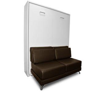 WHITE LABEL - armoire lit escamotable town canapé marron intégré - Hochklappbares Bett