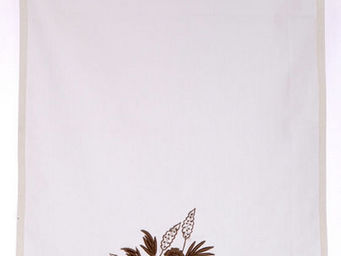 Coquecigrues - brise-bise fleurs marron - Kurzgardine