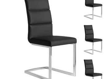 WHITE LABEL - quatuor de chaises eco-cuir noir - loni - l 45 x l - Stuhl