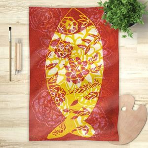 la Magie dans l'Image - foulard poisson batik rouge - Vierecktuch
