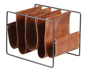 Aubry-Gaspard - porte-revues 5 compartiments en métal et cuir - Zeitungsständer