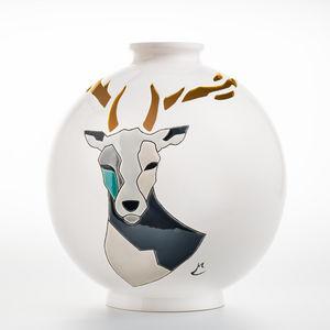 EMAUX DE LONGWY - cerf - Große Vase
