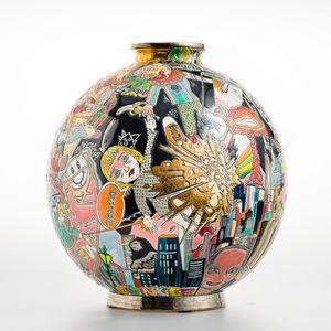 EMAUX DE LONGWY - nouveau monde - Große Vase
