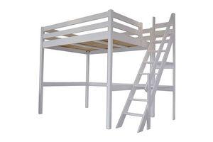 ABC MEUBLES - abc meubles - lit mezzanine sylvia avec escalier de meunier bois gris aluminium 140x200 - Andere Verschiedene Schlafzimmermöbel