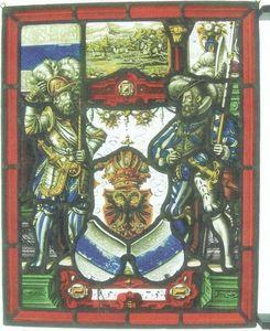 L'Antiquaire du Vitrail - rose trémière - Buntglasfenster