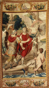 Galerie Hadjer - scene de l'histoire d'achille - Pariser Wandteppich