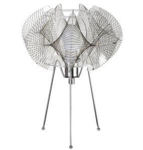 La Chaise Longue - lampe filaire mandala en métal chromé 22x31cm - Tischlampen