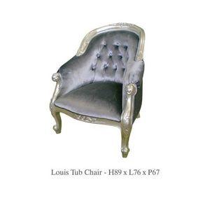DECO PRIVE - fauteuil baroque velours gris et bois argente - Crapaud Sessel