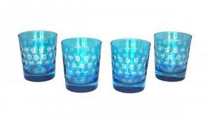 Demeure et Jardin - set de 4 verres a whisky turquoise - Whiskyglas